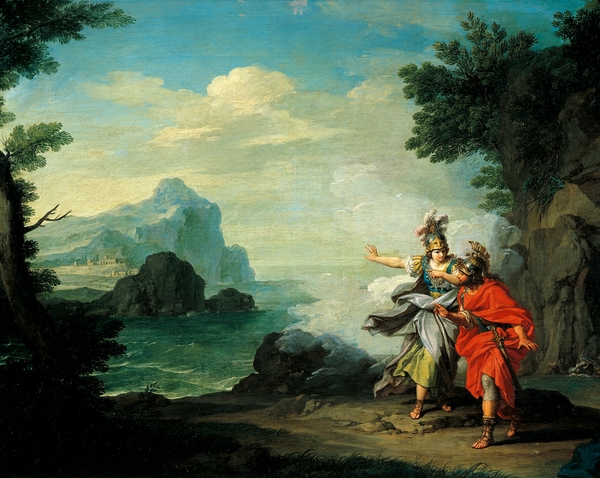 DGA557603 Athena revealing Ithaca to Ulysses, by Giuseppe Bottani (1717-1784), oil on canvas, 47x72 cm; (add.info.: Athena revealing Ithaca to Ulysses, by Giuseppe Bottani (1717-1784), oil on canvas, 47x72 cm. Artwork-location: Pavia, Musei Civici Del Castello Visconteo, Pinacoteca Malaspina (Art Gallery)); De Agostini Picture Library / A. Dagli Orti; FRENCH PUBLISHING RIGHTS NOT AVAILABLE;  out of copyright